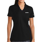 Ladies Nike Golf Dri Fit Black Micro Pique Polo-BonnaVilla
