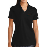 Ladies Nike Golf Dri Fit Black Micro Pique Polo-Chief - Primary Logo