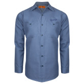 Red Kap Postman Blue Long Sleeve Industrial Work Shirt-Chief Industries