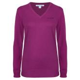 Ladies Deep Berry V Neck Sweater-Chief - Primary Logo