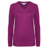 Ladies Deep Berry V Neck Sweater-Chief Industries