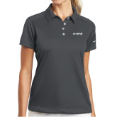 Ladies Nike Dri Fit Charcoal Pebble Texture Sport Shirt-Chief - Primary Logo