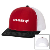 Richardson Red/White/Black Trucker Hat-Chief - Primary Logo
