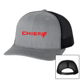 Richardson Heather Grey/Black Trucker Hat-Chief - Primary Logo