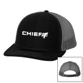 Richardson Black/Charcoal Trucker Hat-Chief - Primary Logo