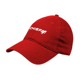 Red Twill Unstructured Low Profile Hat-Chief - Primary Logo