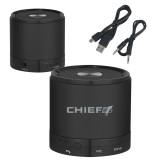 Wireless HD Bluetooth Black Round Speaker-Chief - Primary Logo Engraved
