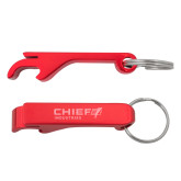 Aluminum Red Bottle Opener-Chief Industries Engraved