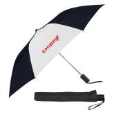 42 Inch Slim Stick Black/White Vented Umbrella-Chief - Primary Logo