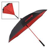 48 Inch Auto Open Black/Red Inversion Umbrella-Chief - Primary Logo