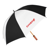 62 Inch Black/White Vented Umbrella-Chief - Primary Logo