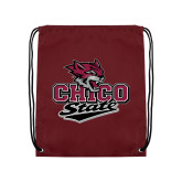 Maroon Drawstring Backpack-Wildcat Head Chico State