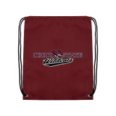 Maroon Drawstring Backpack-Chico State Wildcats Flat Version