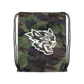 Camo Drawstring Backpack-Wildcat Head