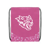 Nylon Pink Bubble Patterned Drawstring Backpack-Wildcat Head