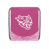 Nylon Zebra Pink/White Patterned Drawstring Backpack-Wildcat Head
