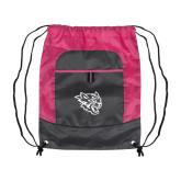 Nylon Pink Raspberry/Deep Smoke Pocket Drawstring Backpack-Wildcat Head
