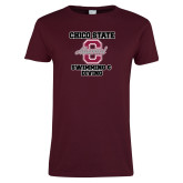 Ladies Maroon T Shirt-Vintage Alumni Swimming & Diving