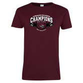 Ladies Maroon T Shirt-Back-to-Back CCAA Champions Mens Basketball
