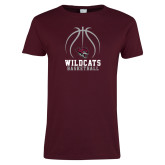 Ladies Maroon T Shirt-Basketball Full Ball