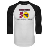White/Black Raglan Baseball T Shirt-Softball Half Century
