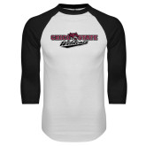 White/Black Raglan Baseball T Shirt-Chico State Wildcats Flat Version