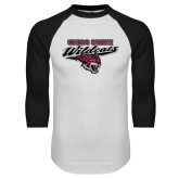 White/Black Raglan Baseball T Shirt-Chico State Wildcats w/Wildcat Head Stacked