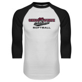 White/Black Raglan Baseball T Shirt-Softball