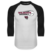 White/Black Raglan Baseball T Shirt-Baseball Ball