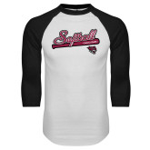 White/Black Raglan Baseball T Shirt-Softball Script
