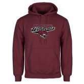 Maroon Fleece Hoodie-Chico State Wildcats w/Wildcat Head Stacked