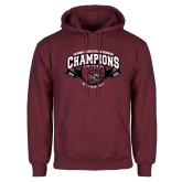 Maroon Fleece Hoodie-Back-to-Back CCAA Champions Mens Basketball