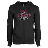ENZA Ladies Black Fleece Full Zip Hoodie-Wildcat Head Chico State