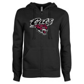 ENZA Ladies Black Fleece Full Zip Hoodie-Cats w/Wildcat Head