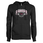 ENZA Ladies Black Fleece Full Zip Hoodie-Back-to-Back CCAA Champions Mens Basketball