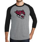 Grey/Black Tri Blend Baseball Raglan-Wildcat Head