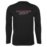 Performance Black Longsleeve Shirt-Chico State Wildcats Flat Version