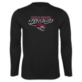 Performance Black Longsleeve Shirt-Chico State Wildcats w/Wildcat Head Stacked