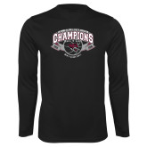Performance Black Longsleeve Shirt-Back-to-Back CCAA Champions Mens Basketball