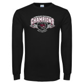 Black Long Sleeve TShirt-Back-to-Back CCAA Champions Mens Basketball