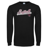 Black Long Sleeve T Shirt-Softball Script
