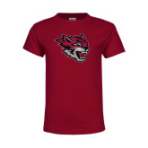 Youth Maroon T Shirt-Wildcat Head