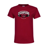 Youth Maroon T Shirt-Back-to-Back CCAA Champions Mens Basketball