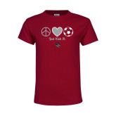 Youth Maroon T Shirt-Soccer Just Kick It