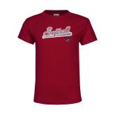 Youth Maroon T Shirt-Softball Script