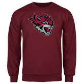 Maroon Fleece Crew-Wildcat Head