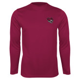 Performance Maroon Longsleeve Shirt-Wildcat Head