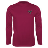 Performance Maroon Longsleeve Shirt-Cats w/Wildcat Head