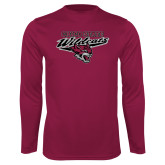 Performance Maroon Longsleeve Shirt-Chico State Wildcats w/Wildcat Head Stacked