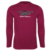 Performance Maroon Longsleeve Shirt-Softball